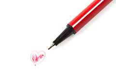 Concept hand drawn heart with pen Stock Photos