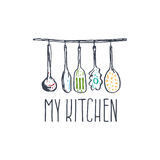 Concept hand drawn logo illustration for themed kitchen Stock Photography