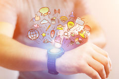 Concept of hand drawn mulitmedia icon going out of technology sm Stock Image