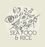 Concept hand drawn sea food elements Royalty Free Stock Photography