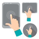 Concept of hand holding digital tablet. Or mobile phone with blank screen Royalty Free Stock Image