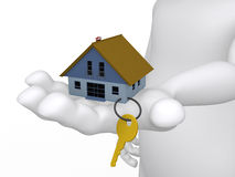Concept of a hand holding a house and key. In 3D Royalty Free Stock Image