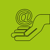 Concept hand with mail icon Royalty Free Stock Image
