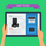 Concept of hands holding digital tablet with website. Flat design Stock Photos