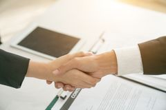 The concept of handshake is a visual business partner. The secon Stock Photography