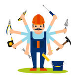 Concept of handyman worker Royalty Free Stock Photo
