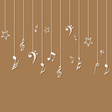 Concept of hanging musical notes. Royalty Free Stock Images