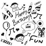 Concept of Happy Birthday doodles. Royalty Free Stock Photo