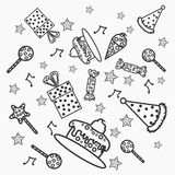 Concept of Happy Birthday doodles. Royalty Free Stock Images