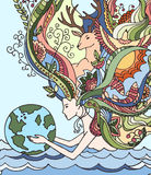 Concept of happy earth day, april 22, ecology. Cartoon vector illustration. Human holding earth. Woman with floral hair. Woman holding earth doodle Royalty Free Stock Photos