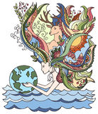 Concept of happy earth day, april 22, ecology. Cartoon vector illustration. Human holding earth. Woman with floral hair. Woman holding earth doodle Royalty Free Stock Photography