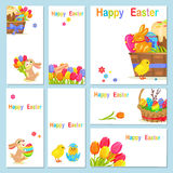 Concept of Happy Easter Chicken Flowers Bunny Stock Photography