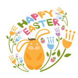 Concept Happy Easter illustration  flowers,bunny and eggs. V Royalty Free Stock Image