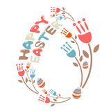 Concept Happy Easter illustration  flowers and eggs. Vector Royalty Free Stock Images