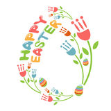 Concept Happy Easter illustration with flowers   Vector Stock Image