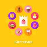 Concept Happy Easter. Vector Illustration of Spring Holiday Infographics Circle with Flat Icons Royalty Free Stock Photos