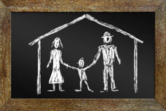 Concept of happy family. Drawing with chalk on the blackboard Royalty Free Stock Images