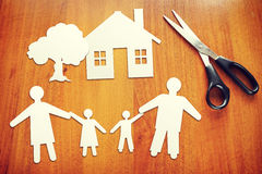 Concept of happy family. Paper scraps Stock Photography