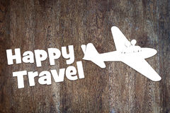 Concept of happy journey by the plane. Abstract conceptual image Stock Photos