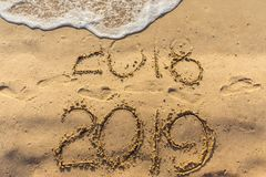 Concept of Happy New Year 2019 is coming and leaving year of 2018. stock image