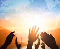 World Religion Day Concept: Human open two empty hands up background. 2019 concept: Happy New Year stock photography