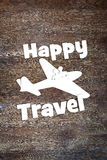Concept of happy travel by the plane Stock Photos