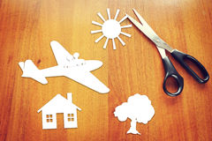 Concept of happy travelling by the plane Stock Images