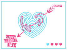 Concept of Happy Valentines Day greeting or. Invitation card with heart like labyrinth and arrow passing through. Vector illustration. Can be used for your vector illustration