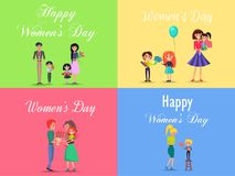 Concept of Happy Womens Day on Four Postcards. Children and adults with red and blue flowers, gifts with color ribbon, air balloon Stock Illustration