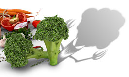 The concept of harm vegetables. Vegetables on a white background and broccoli which casts a shadow of evil creatures.3D illustration Royalty Free Stock Photography