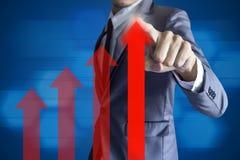 Concept haut de bénéfice de croissance moderne d'interface de contact d'homme d'affaires Images stock