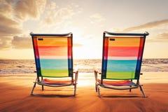 Concept hawaïen de coucher du soleil de vacances Image libre de droits