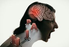 Concept of Head Pain. Crying woman with headache, migraine, stress, PTSD etc. Image stock illustration