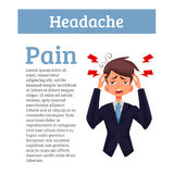 Concept headache in a person with information Stock Image