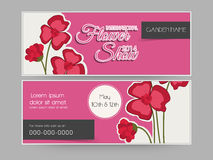 Concept of  header for flower show. Royalty Free Stock Photo
