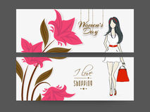 Concept of header with womens day and shopping. Womens day  header with pink flowers, young lady holding hand bag and stylish text  I Love Shopping Royalty Free Stock Photo