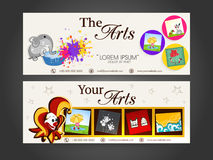 Concept of headers for art and drawing. Royalty Free Stock Photography