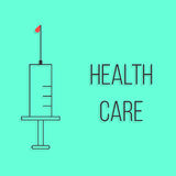 Concept of health care with outline syringe Royalty Free Stock Image