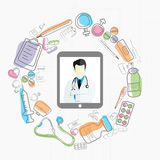 Concept of Health and Medical with doctor and various elements. Royalty Free Stock Images
