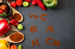 Concept of the health properties of peppers. Royalty Free Stock Photography