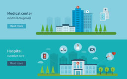 Concept for healthcare. Flat design modern vector illustration concept for healthcare, medical center and hospital building Royalty Free Stock Images