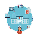 Concept for healthcare. Flat design modern vector illustration concept for healthcare, medical center and hospital building Royalty Free Stock Photos