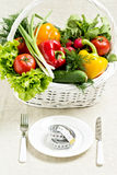 Concept of a healthy diet. The basket of vegetables and a plate. With measuring tape Stock Image