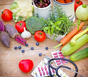 Concept of a healthy diet with supplements Stock Photography