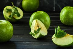 The concept of healthy eating, fresh apples royalty free stock photos