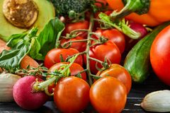 The concept of healthy eating, fresh vegetables and fruits stock images
