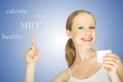 Concept of healthy eating. woman and glass of milk Stock Photography