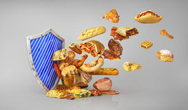 Concept of healthy food. Attack of unhealthy food. Stock Photography