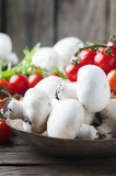Concept of healthy food with champignon and tomato Stock Images