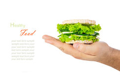 The concept of a healthy food, diet, losing weight, vegeterian. Man's hand holding a healthy burger with wholegrain cereal crispbreads, vegetables, herbs and Royalty Free Stock Photography